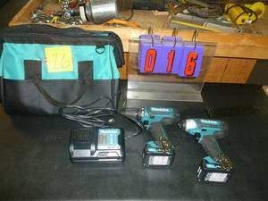 "Makita New 12 volt Lithium Ion battery & Charger tool kit. Includes 3/8"" drill & impact driver. As shown. *SEE TERMS"