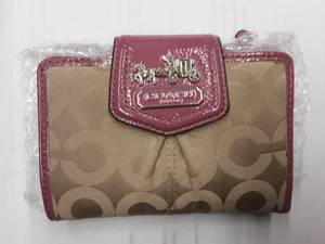 Coach Tan Signature Wallet With Pink Trim & Inside