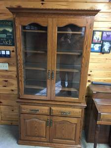 Solid Oak China Hutch