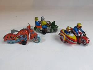 3 Tin Motorcycle Toys