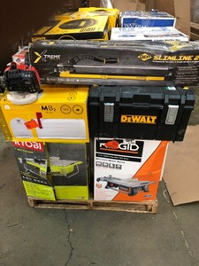 Pallet with Assorted Hardware and Tools includes Husky, Ridgid, Ryobi, Dewalt this are Customer Returns