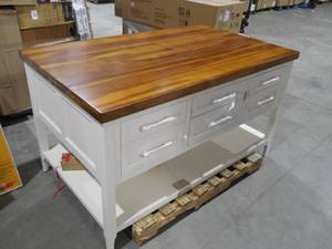 NEW - Gramercy White Kitchen Island