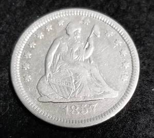 1857 US SEATED LIBERTY QUARTER