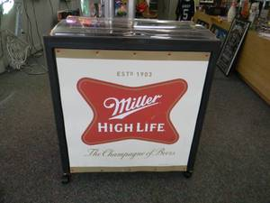 "MILLER HIGH LIFE COOLER WITH DRAIN PLUG ON WHEELS - NICE! AWESOME PIECE! - APPROX 30""WIDE 16""DEEP 34""TALL - SEE PICTURES!"