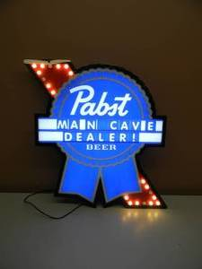 "Pabst Blue Ribbon Beer - RARE!!!!! - Motion Moving LED Light Up Sign! Fully Customizable!!!!! - LIKE NEW!!!!! - WITH BOX NUMBERS & LETTERS! - APPROX 19"" BY 23"" - SEE PICTURES!"