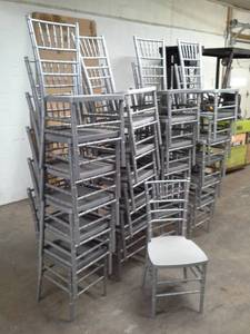 Lot of (Approximately 25) Drake Corp. 36in. Silver/Grey Stackable Plastic Banquet Chairs
