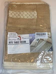 "Scrafts Jute Table dŽcor 100% Natural Table runner 15""x74"" + 6 Place Mats 13""X19"" + 6 spoon and fork holder"