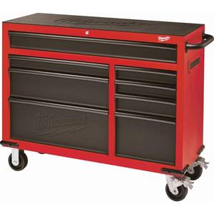 Milwaukee 46 in. 8-Drawer Roller Cabinet Tool Chest in Red/Black Textured not used
