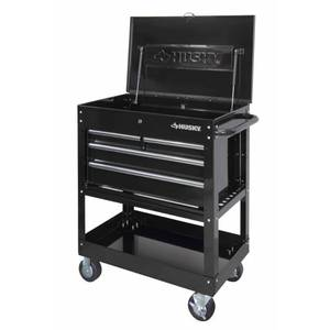 Husky 33 in. W 4-Drawer Mechanics Tool Utility Cart in Gloss Black in good conditions