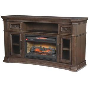 Home Decorators Collection Oak Park 60 in. Freestanding Electric Fireplace TV Stand in Coffee in good conditions