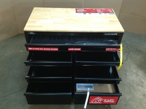 Husky 46 in. W x 24.5 in. D 9-Drawer Mobile Workbench with Solid Wood Top in All Black Finish whit small damage please review the pictures