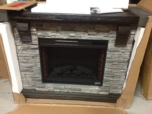 Home Decorators Collection Highland 50 in. Faux Stone Mantel Electric Fireplace in Gray  IN GOOD CONDITIONS