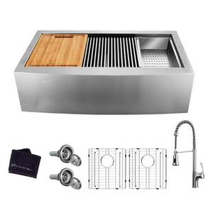 Glacier Bay All-in-One Apron-Front Farmhouse Stainless Steel 36 in. 50/50 Double Bowl Workstation Sink with Faucet and Accessories NOT USED