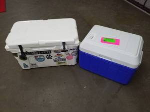 Lot of (2) Yeti Tundra 45 and Coleman Chest Cooler