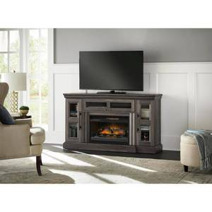 Home Decorators Collection Abigail 60in  Media Console Infrared Electric Fireplace in Gray Aged Oak Finish in good conditions