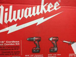 Milwaukee M18 18-Volt Lithium-Ion Cordless Combo Tool Kit (4-Tool) w/(2) 3.0Ah Batteries, (1) Charger, (1) Tool Bag not used