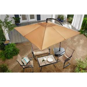 Hampton Bay 8 ft. Square Aluminum Cantilever Offset Outdoor Patio Umbrella in Putty Tan in good conditions