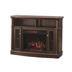 Home Decorators Collection Tolleson 48 in. TV Stand Infrared Bow Front Electric Fireplace in Mocha in good conditions