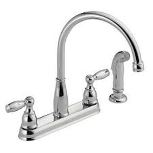 DELTA Foundations 2-Handle Standard Kitchen Faucet in Chrome