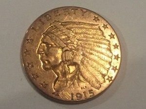 1915 $2.50 Indian Head Gold Coin