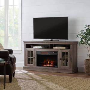 Home Decorators Collection Highview 59 in. Freestanding Media Console Electric Fireplace TV Stand in Embossing Oak not used
