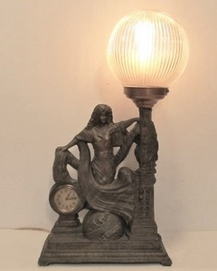 Working Antique Figural Cast Metal Table Lamp Statue Clock