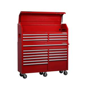 Husky 61 in. W x 18 in. D 18-Drawer Tool Chest and Cabinet Combo in Red H61CH6TR12R