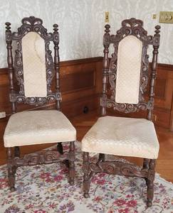 Antique Jacobean Carved Slipper Chairs
