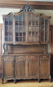 Large Elegant French Country Breakfront Cabinet