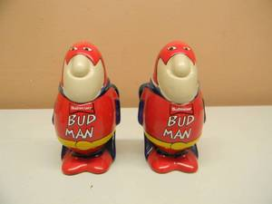 "VINTAGE - NOS - BUDMAN BUDWEISER SALT & PEPPER SHAKER SET - AWESOME! LIKE NEW! NEVER USED! - APPROX 4"" - SEE PICTURES!"