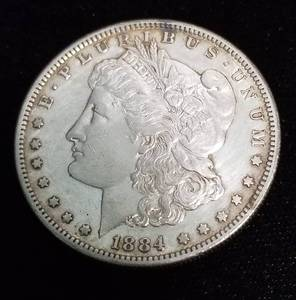 1884-S MORGAN SILVER DOLLAR AU BETTER DATE COIN