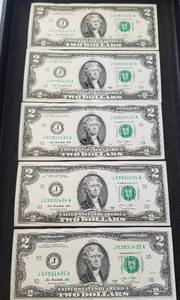 5 CONSECUTIVE SERIAL NUMBER US $2 FEDERAL RESERVE NOTES
