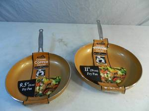 2 New Ceramic Copper Coated Fry Pans