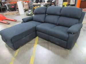 Ottomanson Recliner L-Shaped Navy Blue Corner Sectional Sofa with Storage Compartment. - Back on Chaise Is Loose and Needs to be Fixed.