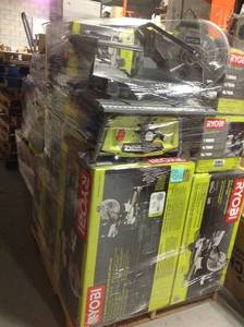 Pallet with assorted Ryobi Toolls. Customer returns. Some of the contents of this pallets are Sliding Compound Miter Saw,Table Saw and more aprox retail $ 4000