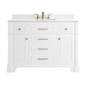Home Decorators Collection Melpark 48 in. W x 22 in. D Bath Vanity in White with Cultured Marble Vanity Top in White with White Sink in good conditions