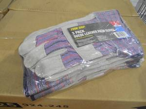 NEW - 1 PALLET of 1,152 Pairs of Firm Grip Leather-Palm Large Gloves