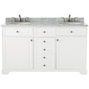 Home Decorators Highclere 60 in. W x 22 in. D Double Bath Vanity in White with Natural Marble Vanity Top in Carrera White retail $1200+