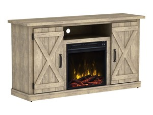Home Decorators Collection Chestnut Hill 56 in. TV Stand Electric Fireplace with Sliding Barn Door in Ash with Black Top
