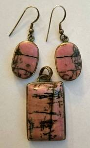Sterling Silver Black Veined Pink Quartz Pendant and Earrings Set