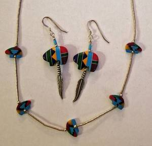 Liquid Silver Native American Bear Fetish Necklace and Earrings Set