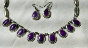Sterling Purple Quartz Teardrop Earrings and Necklace Set
