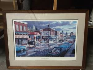 Ken Zylla Reflections Of Main Street Signed & Numbered-Professionally Framed Print 38x30