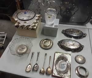 Crystal With Silver Plate Rim & Other Assorted Silver Plate Items (13 Pieces)