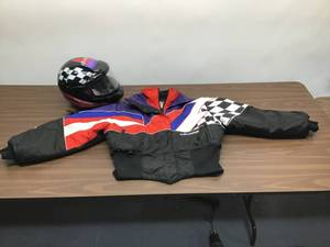 Women's Snowmobile Polaris Helmet and Jacket.