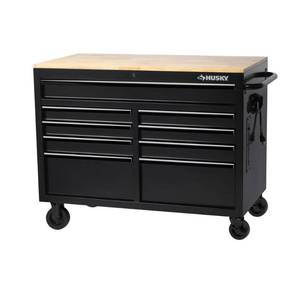 Husky 46 in. W 9-Drawer, Deep Tool Chest Mobile Workbench in Black with Hardwood Top