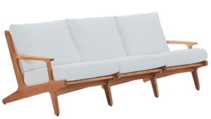 Midway Saratoga Teak Outdoor Sofa in Natural with White Cushions