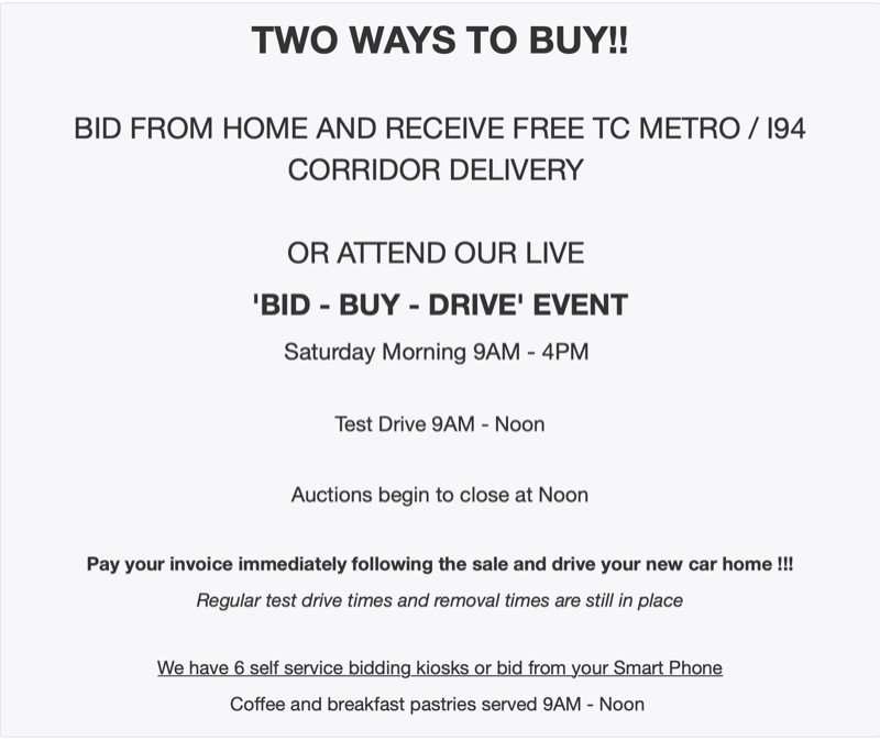 Info Lot Only 1086 Mn Auto Auctions Bid Buy Drive Saturday No Reserve Sale Free Tc Metro I94 Corridor Delivery K Bid