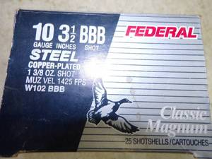 "Federal 10 Gauge 3 1/2"" BBB Steel Shot Full Box Shotgun Shells"