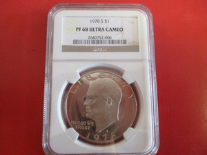 NGC Certified 1978 S (San Francisco Mint) PF 68 Ultra Cameo Eisenhower Dollar. 2640752-006 Registration Number